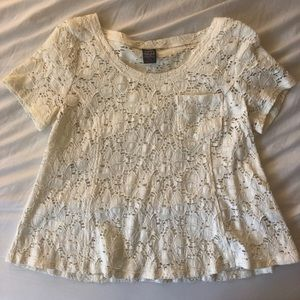 Free People Cream Lace Babydoll Tee